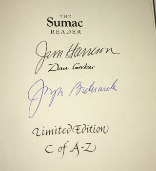 "THE SUMAC READER. Copy ""C"" of 26 Lettered Copies Signed. Jim Harrison"